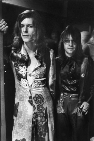 David Bowie in a dress with Rodney Bingenheimer known as The Mayor of Sunset Strip., Silver Gelatin Photograph