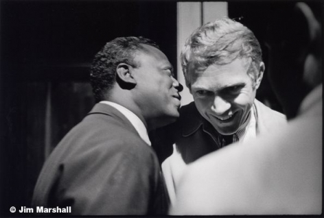 Miles Davis and Steve McQueen, Backstage at Monterey Pop Festival, 1963, 11 x 14 Silver Gelatin Photograph