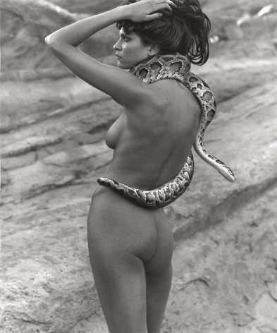 Frankie Rayder with Snake 1, Vasquez Rocks, 2000, 14 x 11 Inches, Silver Gelatin Photograph, Edition of 7