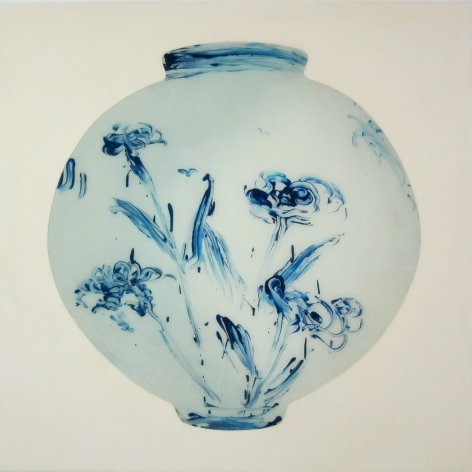 Blue Chrysanthemum Moon Jar #1