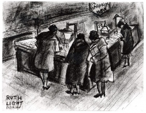 """RUTH LIGHT BRAUN (1906–2003), """"Bargain Counter, New York City,"""" about 1928. Conté crayon on paper, 8 1/2 x 11 in."""