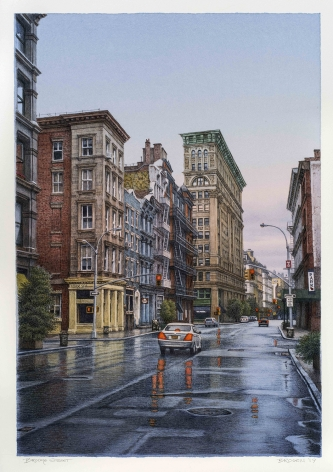 watercolor painting of Broome Street in New York City in the rain