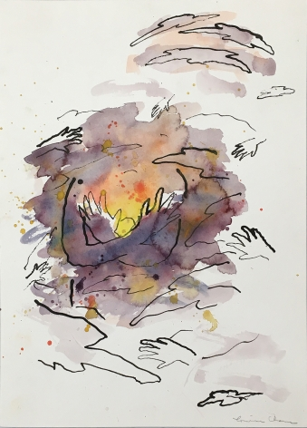 Image of Louisa Chase's Untitled, Sunset with Hands, ink and watercolor on paper, 14 1/8 by 10 1/4 inches, painted about 1984.