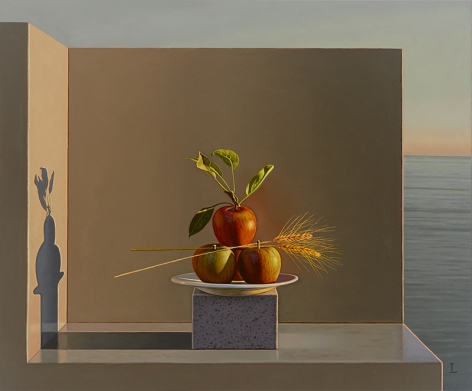 Still Life with Apples and Wheat (Aparchai), 2012, Oil on canvas, 20 x 24 inches