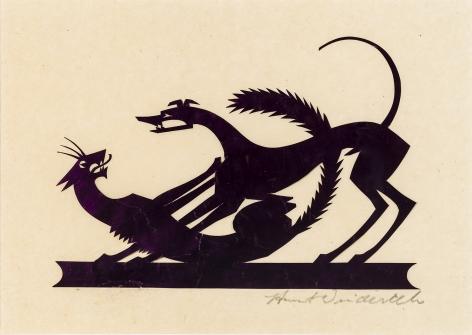 "HUNT DIEDERICH (1884–1953), ""Cat and Dog."" Paper cutout 4 3/4 x 6 3/4 in."