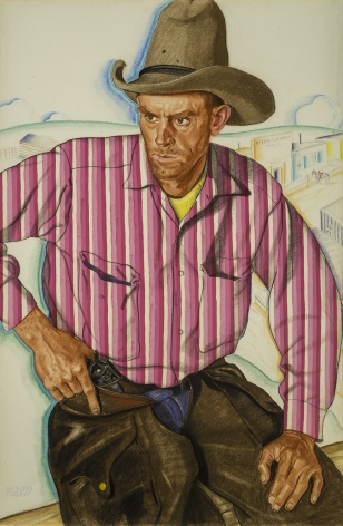 Image of Winold Reiss's Montana Red Shy, pastel on Whatman board, 39 by 26 inches, painted about 1931.