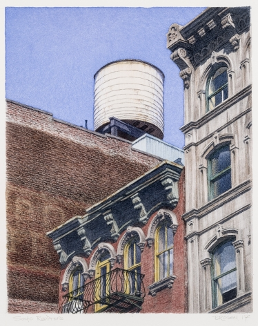 watercolor painting of rooftops in Soho area of New York City
