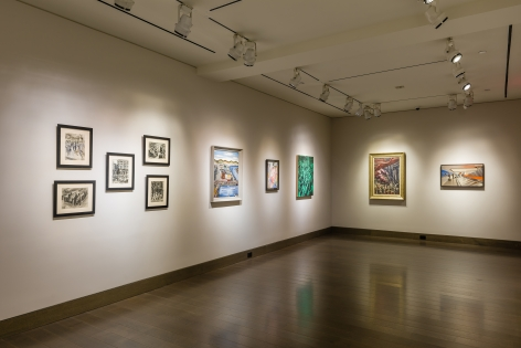 """""""The Madding Crowd"""" gallery installation, June 2021. Gallery 3, wide view."""
