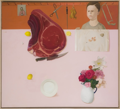 Meat, 1974.  Oil on canvas, 56 x 62 in.   Signed (at upper left): Sharrer.