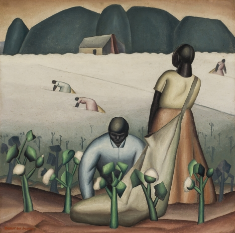Cotton Pickers of East Texas, c. 1927, Oil on canvas, 26 x 26 in.