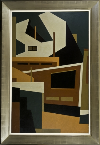 NILES SPENCER (1893–1952), In Fairmont, 1951 Oil on canvas, 65 1/2 x 41 1/2 in. Showing frame.
