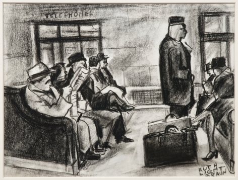 """RUTH LIGHT BRAUN (1906–2003), """"Grand Central Terminal,"""" about 1928. Conté crayon on paper, 8 1/2 x 11 in."""