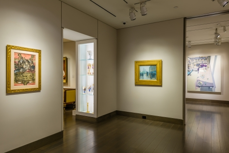 """""""The Madding Crowd"""" gallery installation, June 2021. Galleries 2 and 3, with works by (left to right) Reginald Marsh, Childe Hassam, and John Moore."""