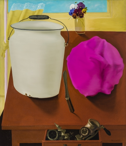Still Life with White Pail, about 1978.  Oil on linen, 58 x 50 in.   Signed (at lower right): Sharrer.