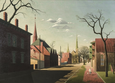 Image of Thomas Fransioli's Street Scene, South Boston, oil on canvas, 22 by 33 inches, painted in 1951.