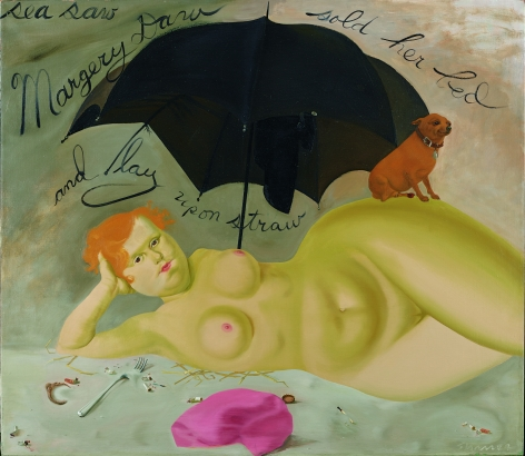 Margery Daw, 1969.  Oil on canvas, 41 1/4 x 48 1/2 in.   Signed (at lower right): Sharrer.