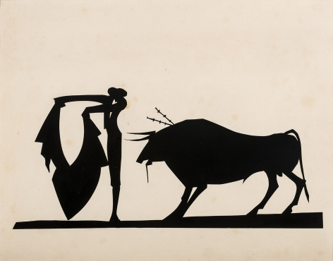"HUNT DIEDERICH (1884–1953), ""Matador and Bull."" Paper cutout, 9 x 11 3/8 in."