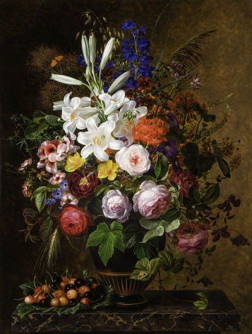 """JOHAN LAURENTZ JENSEN (Danish, 1800–1856), """"Lilies, Orange and Pink Pelargonium, Roses and other Flowers in a Greek Vase on a Marble Ledge with Cherries,"""" 1848 Oil on wood panel, 31 x 23 1/2 in."""