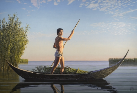 The Cane Gatherer (Qanu), 2010-2014, Oil on canvas, 60 x 90 inches