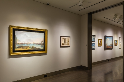 """""""The Madding Crowd"""" gallery installation, June 2021. Galleries 2 and 3, with works by (left to right) Nicolino Calyo, Lawrence Blazey, Winold Reiss, Colin Campbell Cooper, etc."""