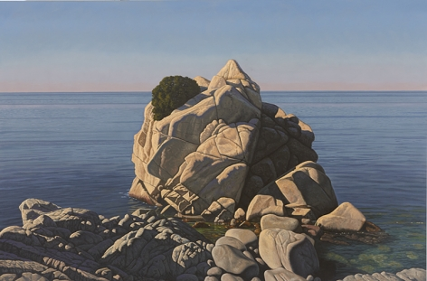 Seascape with Large Rock, 2011, Oil on canvas, 60 x 90 in.