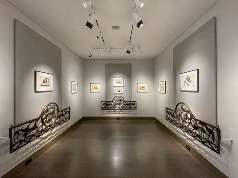 """""""Elegance of Outline: Silhouettes by Hunt Diederich (1884–1953,"""" Gallery 2 wide-angle photo showing cutouts and window railings."""