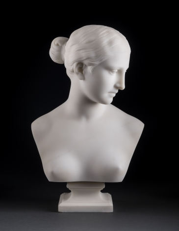 """Hiram Powers (1805–1873) """"Bust of the """"Greek Slave,"""" 1852. Marble, 15 in. high x 9 5/8 in. wide x 6 in. deep"""