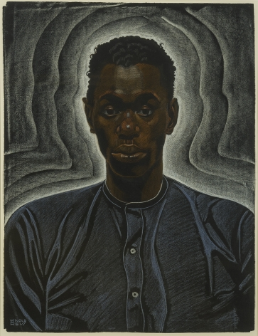 Winold Reiss (1886-1953), Short Haired Young Man in Collarless Shirt, n.d.