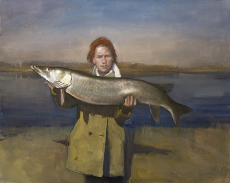Girl with Muskie, 2011, Oil on canvas, 16 x 20 in.