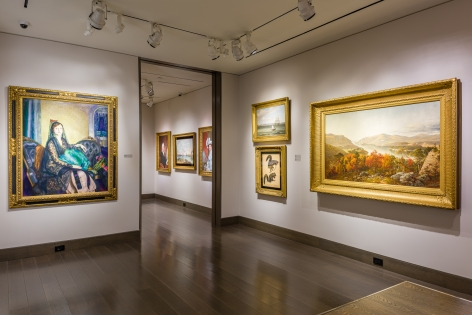 """""""American Cornucopia."""" Installation view showing 5 paintings."""