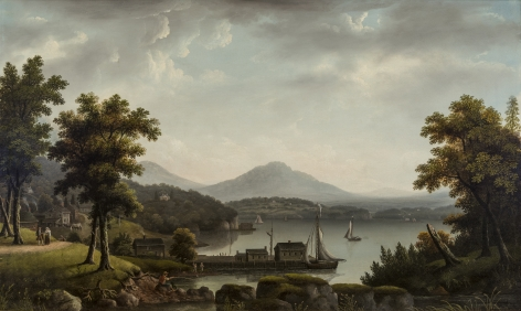 """Francis Guy (1760–1820), """"Rhinebeck Landing, Hudson River,"""" about 1817–20. Oil on canvas, 39 1/2 x 66 in."""