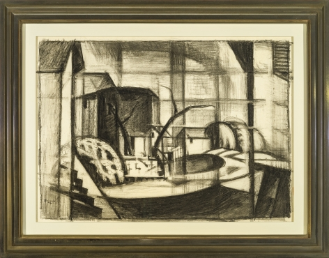 "Image of Oscar Bluemner's Study for ""Old Canal, Red and Blue (Rockaway, Morris Canal)"", charcoal on paper, 14 x 20 inches, drawn in 1916"