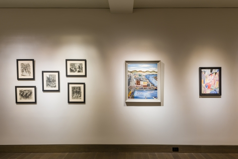 """""""The Madding Crowd"""" gallery installation, June 2021. Gallery 3, with works by (left to right) Ruth Light Braun, Hilaire Hiler, and Winold Reiss."""