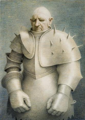 "ROBERT VICKREY (1926–2011), ""Clown in Armor,"" 1961. Egg tempera on gessoed panel, 33 1/2 x 23 7/8 in."