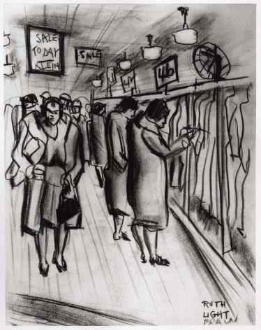 "RUTH LIGHT BRAUN (1906–2003), ""Klein's Dress Shop, Union Square,"" about 1928–29. Conté crayon on paper, 11 x 8 1/2 in."