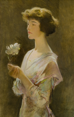 JOHN WHITE ALEXANDER, Portrait of Julia Swift Gilbert, 1914, oil on canvas laid on Masonite, 33 1/2 x 21 3/4 in.