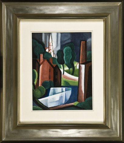 Image of Oscar Bluemner's New Hampshire Town, watercolor and gouache on paperboard, 11 1/2 x 8 3/4 inches, painted in 1931