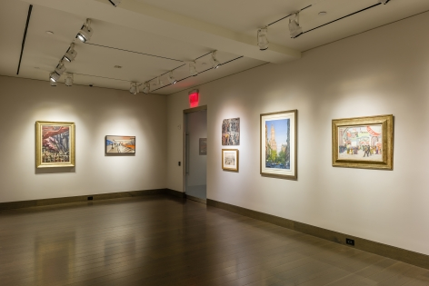 """""""The Madding Crowd"""" gallery installation, June 2021. Gallery 3, with works by (left to right) Reginald Marsh, Marc Trujillo, Purvis Young, William Glackens, Frederick Brosen, and Jane Peterson."""