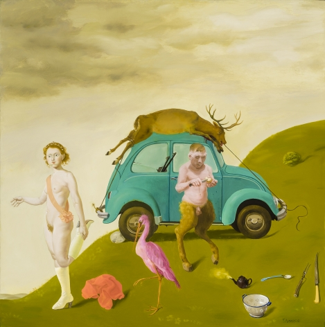 Afternoon of a Satyr, 1989.  Oil on canvas, 20 x 19 7/8 in.   Signed (at lower right): Sharrer.