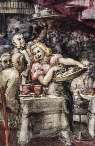 REGINALD MARSH (1898–1954), Cabaret, 1938. Tempera and pencil on gessoed panel, 35 3/4 x 23 3/4 in., unframed.