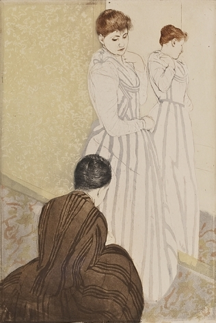 Mary Stevenson Cassatt (1844–1926). The Fitting, 1890–91. Drypoint and aquatint, printed in colors, inked à la poupée, on laid paper, 14 3/4 x 9 7/8 in.