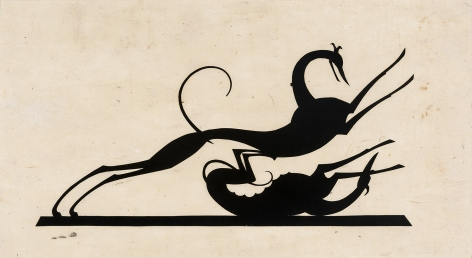 """HUNT DIEDERICH (1884–1953), """"Greyhounds Playing."""" Paper cutout, 6 x 11 in."""