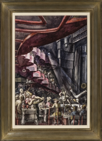 REGINALD MARSH (1898–1954), Cabaret, 1938. Tempera and pencil on gessoed panel, 35 3/4 x 23 3/4 in., framed.