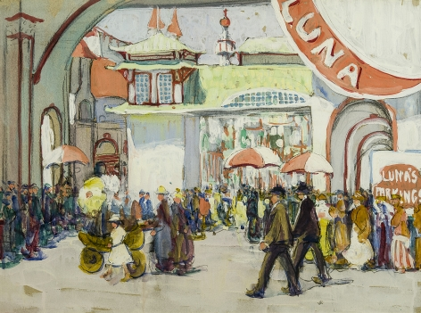 Image of Jane Peterson's Luna Park, charcoal and gouache on paper, 18 by 24 inches, painted about 1918.