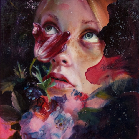 a painting by Angela Fraleigh of a close-crop view of a woman's face within a tangle of abstract colors and flowers