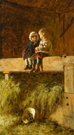 """EASTMAN JOHNSON (1824–1906), """"The Confab,"""" about 1877–78. Oil on board, 22 x 12 1/4 in."""
