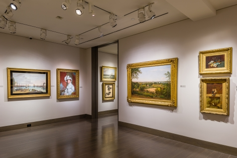 """""""American Cornucopia."""" Installation view showing 7 paintings over 2 gallery rooms."""