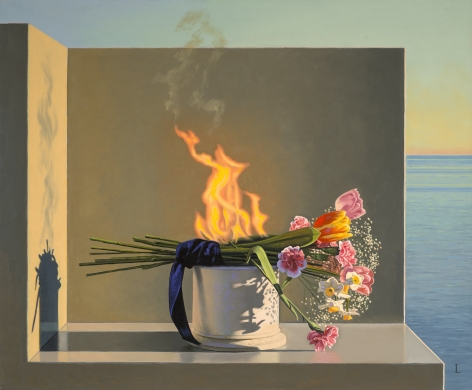 Still Life with Burning Flowers (Offering), 2015, Oil on canvas, 20 x 24 inches