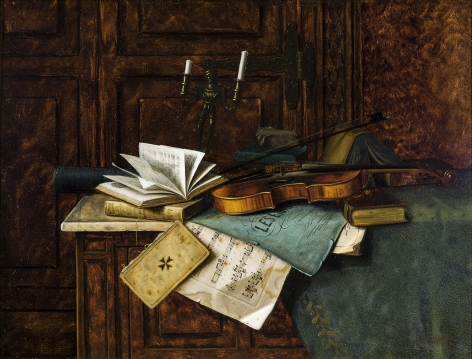 "WILLIAM MICHAEL HARNETT (1848–1892), ""Music,"" 1885. Oil on mahogany panel, 11 x 14 1/2 in."