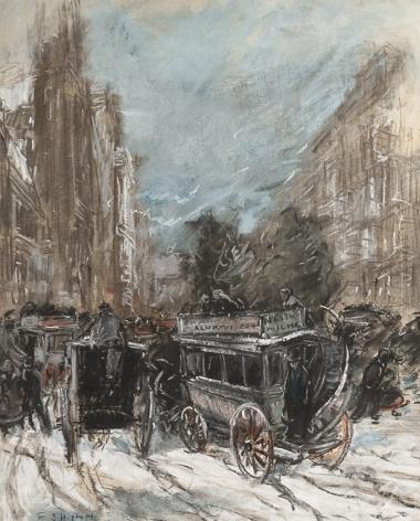 "EVERETT SHINN (1873–1953), ""Fifth Avenue,"" 1900. Pastel on paper, 20 x 16 in."
